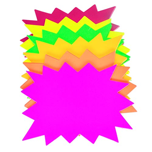 5x7 Inch Fluorescent Paper Signs Star burst Signs for Retail Fluorescent Bright Color Display Tags to Boost Sales,garage sale supplies sign,yard sale supplies for sale sign (60Pieces)