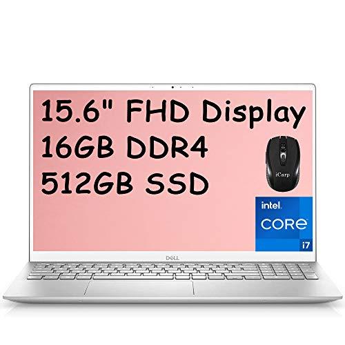 2021 Flagship Dell Inspiron 15 5000 Laptop Computer 15.6' Full HD Display 11th Gen Intel Quad-Core i7-1165G7 16GB DDR4 512GB SSD MaxxAudio Backlit Webcam HDMI WiFi USB-C Win 10 + iCarp Wireless Mouse