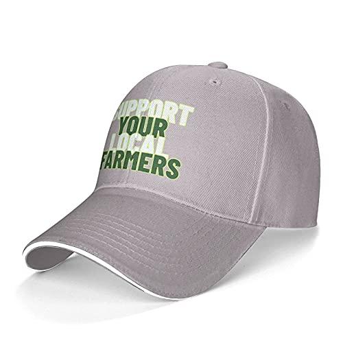 Apoya a tu gorra de sándwich de agricultores locales, unisex clásico, sombrero de béisbol para todo partido, color gris