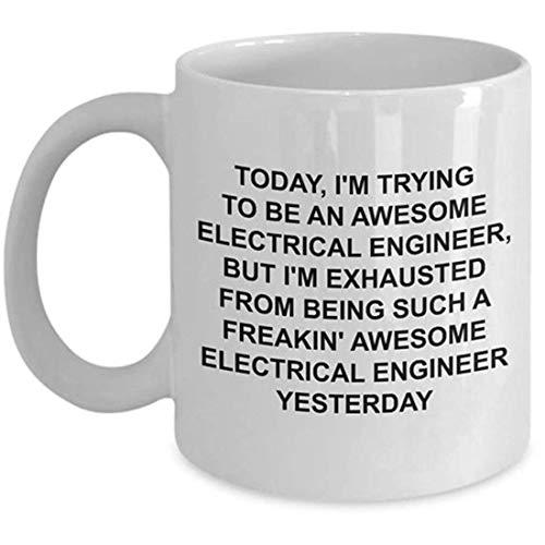N\A Taza de Ingeniero eléctrico - Regalo de ingeniería - Tratando de ser Impresionante - Taza de café Divertida y novedosa
