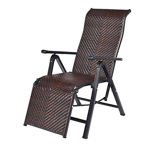 Thomm Folding Reclining Chair, Portable Chaise Adjustable Lounge Chair With Wide Armrest, For Camping Pool Beach Outdoor, Support 330 lbs (Color : Brown)
