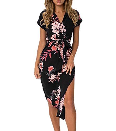 Ajpguot Vestido de Verano Mujer Impresión Midi Vestidos de Playa Elegante Largo Vestido de Fiesta V-Cuello Manga Corta Vestido con Cinturón (S, 0894 Negro)