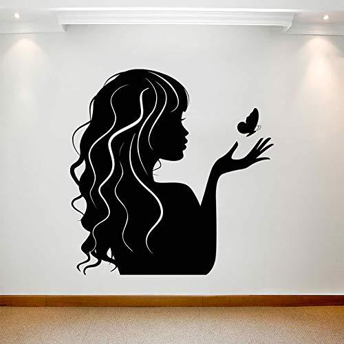 Salón de belleza pegatina de pared chica mariposa pelo peluquería tienda letrero ventana arte...