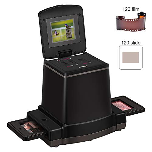 120 Stand Alone Film & Slide Scanner, Converts 6x9/6x8/6x7/6x6 and 6x4.5cm 120 Films/Color Reversal/Negative/B&W Negatives to Digital JPG Photos, 2.4 LCD Screen, Compatible with Mac/PC