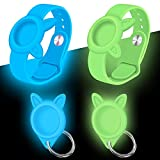 [2 Pack] Air Tag Wristbands + Silicone Cases Holder for Airtags 2021 Tracker, Airtag Watch Band for Kids Elders and Protective Waterproof Cover with Keychain for pet, Blue Green Sleeves Glow in Dark
