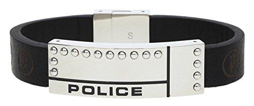 Police Leder Armband Raw Herren Schmuck Edelstahl Schwarz NEU PJ24643BLB.01-L