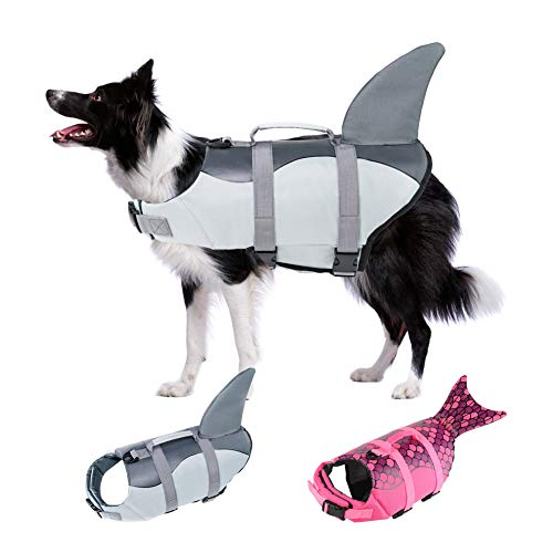EMUST Shark Life Jackets for Dogs, Adjustable Ripstop Dog Life Vest for Water Safety pet Life Vest with Rescue Handle Safety Vest for Swimming Pool Beach Boating, (L,Grey)
