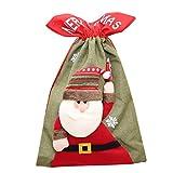 WEDFTGF Navidad no tejida Santa Claus bolsa regalo lindo 3D dibujos animados caramelo titular decoración