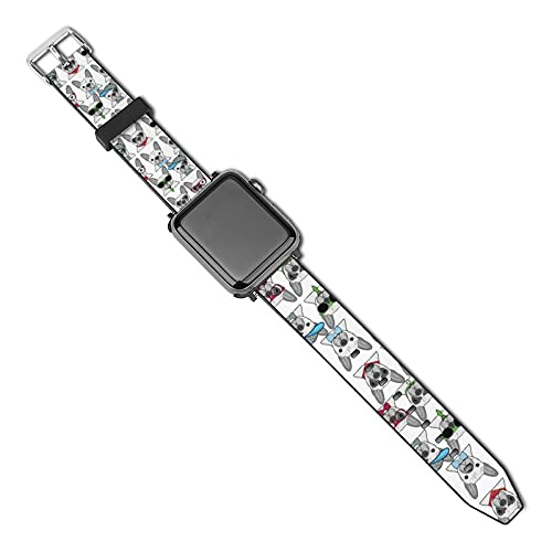 NiYoung Leather Watch Straps Funny Sunglasses French Bulldog Compatible with Apple Watch Band for Unisex (38mm-40mm)