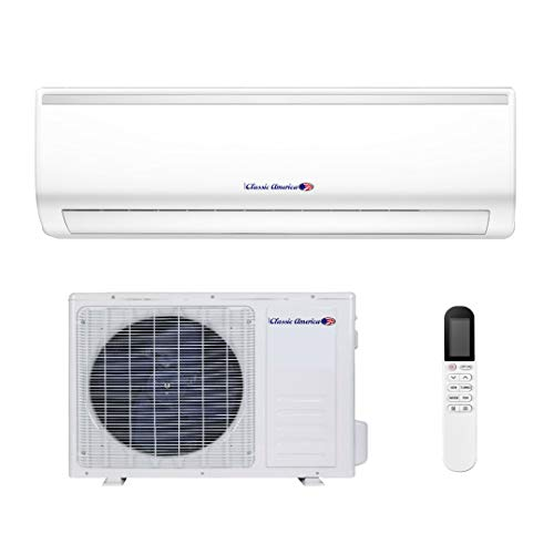 Classic America WiFi Ductless Wall Mount Mini Split Inverter Air Conditioner with Heat Pump, Full Set (12000 BTU 20 SEER 120VAC)