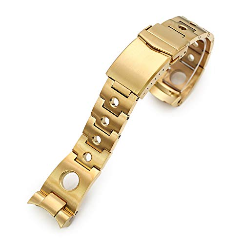 Correa de reloj de metal para reloj Seiko 5 SRPE74, 22 mm, color dorado