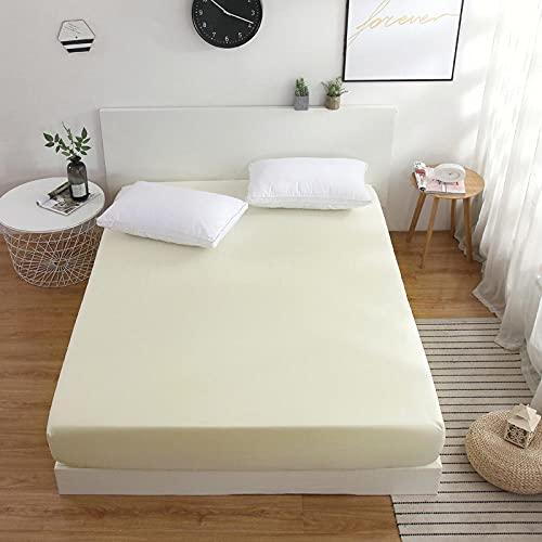 CYYyang Protector de colchón Transpirable.Rizo Bambú. Sábana de Cama de Color Puro una Pieza Antideslizante-Beige_200x220cm