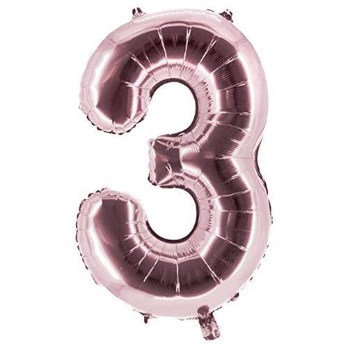 Party Factory Globo de helio XXL con el número 3, 100 cm, color rosa, para cumpleaños, Abi, aniversario, fiesta, decoración