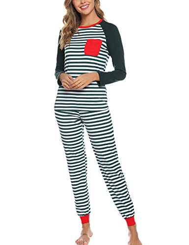 Aibrou Merry Matching Pajamas Christmas Pajamas Striped for Family Women Men Kids Baby Pjs Loungewear Green X-Large