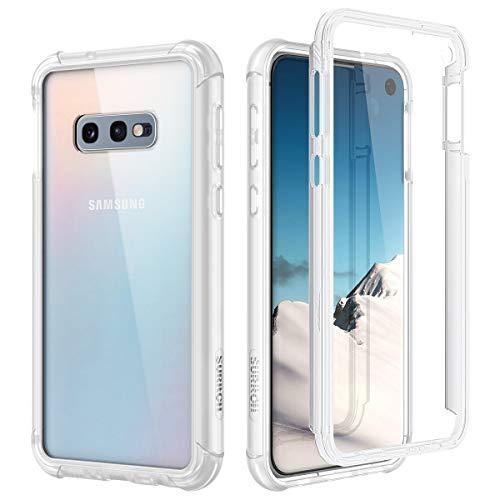 SURITCH Kompatibel mit Samsung Galaxy S10E Hülle Transparent, 360 Grad Stoßfest Schutzhülle, Durchsichtig Handyhülle Hybrid Rundumschutz mit Displayschutz und Silikon TPU Matt Bumper Klar