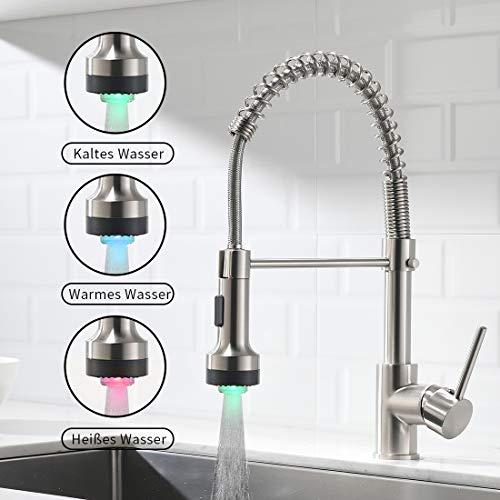 TIMACO LED Wasserhahn Küche mit 360° Schwenkbare Temperaturidentifikation Küchenarmatur mit Brause Ausziehbar,Hochdruck Gebürstetes Nickel