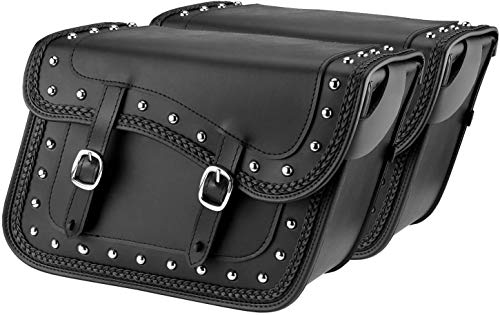 Nomad USA Universal Slanted Black Synthetic Leather Throw Over Motorcycle Saddlebags with Quick Release Buckles (Braided & Studded)
