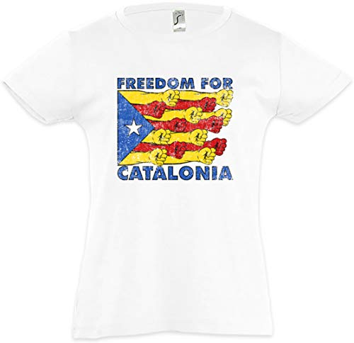 Urban Backwoods Freedom For Catalonia Camiseta para Niñas Chicas niños T-Shirt Blanco Talla 12 Años