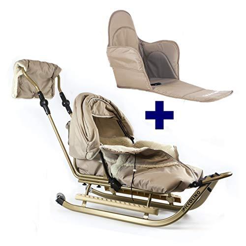 Babyschlitten Piccolino Komfort (Beige) (+ Sitzpolster)