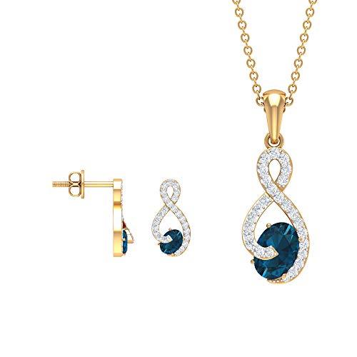 Juego de pendientes y collar de topacio azul Londres de 1,92 quilates, joyas de diamante infinito, corte ovalado azul, colgante de piedra natal, 14K Oro amarillo Sin cadena