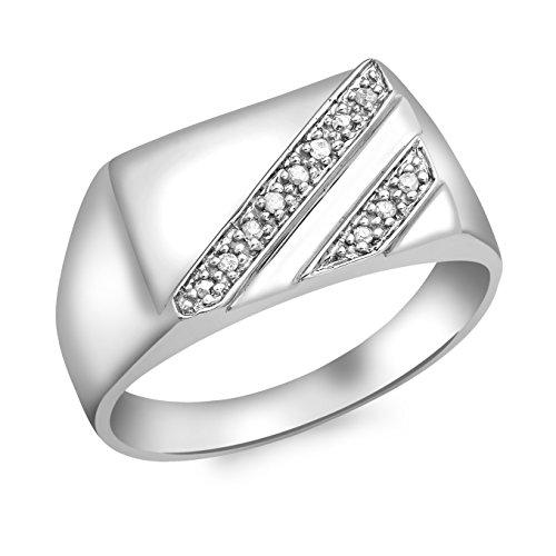 Carissima Gold Herren-Ring 9 k (375) Weißgold Rundschliff Diamant 63 (20.1)