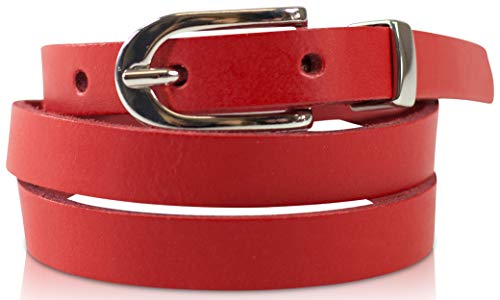 fashionchimp ® Basic Damengürtel aus 100% echtem Leder, schmaler Gürtel, Breite ca. 1,5cm, Made In Germany (Rot, 130/BW115)
