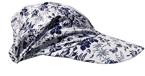Cool4 Sommer Schirm Kopftuch Visor Strand Cap Bandana Sonnenschutz Mütze Chemo A01 (Weiß (dunkelblau geblümt))