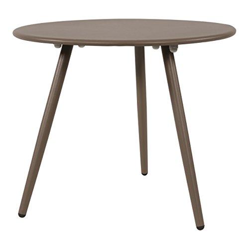 lifestyle4living Beistelltisch aus Metall in Taupe, Gartentisch rund 45x45 cm, dreibeinig, wetterfest. Ideal als Garten, Balkon-Tisch & Terrassentisch.
