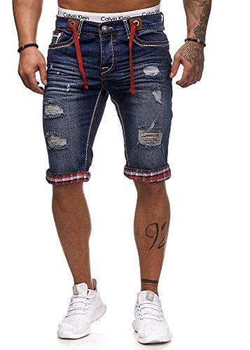L.gonline Jeans Bermuda Herren Dicke Naht L-2020 (W36, D-Rot)