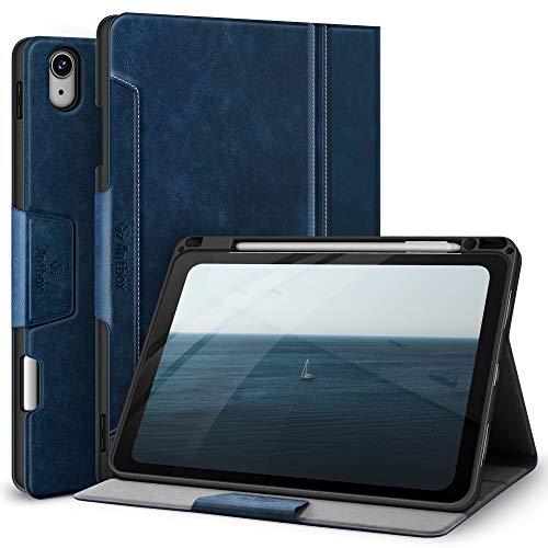 Antbox Hülle für iPad Air 4. Generation 2020 iPad 10.9 Zoll mit Stifthalter Apple Pencil Halter Auto Schlaf/Wach Funktion PU Ledertasche Schutzhülle (Blau)