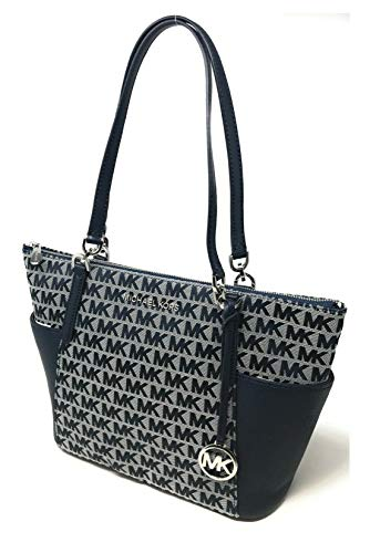 """MK Signature Jacquard Fabric; Silver-Tone Hardware Top Zippered Closure Exterior Details: 2 Side Slip Pockets Interior Details: 2 Slip Pockets, 1 Large Zip Pocket 12""""W (bottom) X 10""""H X 4.5""""D, Double Straps with 10"""" Drop"""