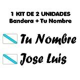 Pegatina Vinilo Bandera Galicia + tu Nombre - Bici, Casco, Pala De Padel, Tablas Skate, Coche, Moto, etc. Kit de Dos Vinilos (Pack Fuentes 2)