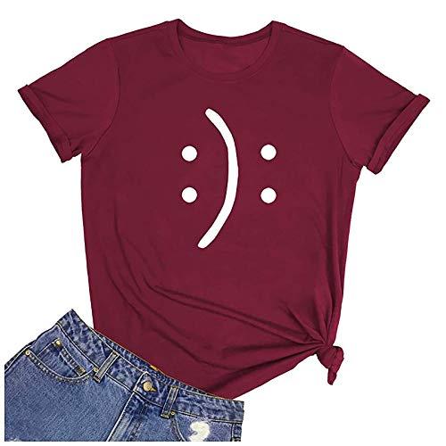 Blusa para mujer, tallas grandes, verano, básica, blusa, camiseta para mujer, camiseta de manga corta, cuello redondo Vino M