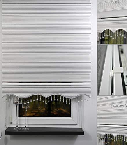 Storperde24 Doppelrollo Duorollo Klemmfix Duo Rollo ohne Bohren Seitenzug mit Klemmträger Perlen Tür Fenster weiß grau (Weiß, 110 x 200 cm)