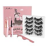 Magnetic Eyelashes with Eyeliner, InBrave 6D Reusable Magnetic False Lashes and...