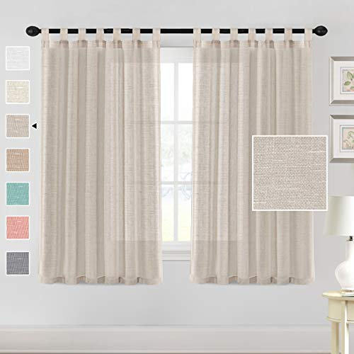 """H.VERSAILTEX Natural Linen Sheer Curtains 63 Inch Length - Semi Sheer Tab Top Curtain Sets for Living Room/Bedroom Privacy and Sunlight Filtering, 2 Panels (52"""" W x 63"""" L, Linen)"""