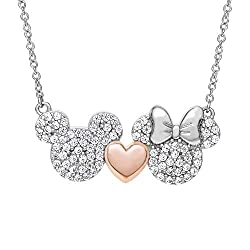 powerful Disney Mickey and Minnie Mouse, sterling silver, two-tone zirconia and pink hearts.  …