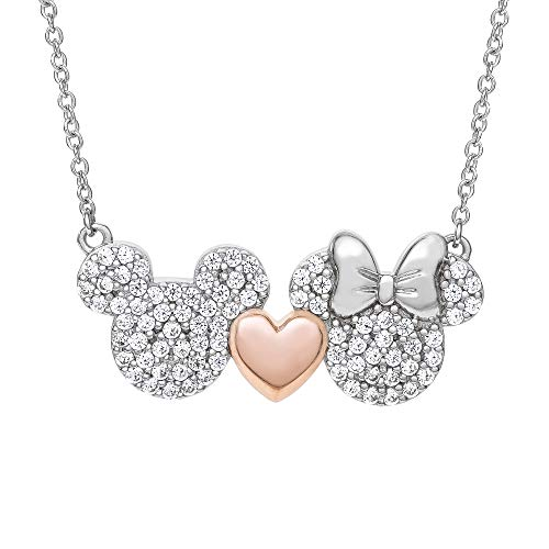 Disney Mickey and Minnie Mouse Sterling Silver Two Tone Cubic Zirconia Necklace with Pink Heart; Jewelry for Women