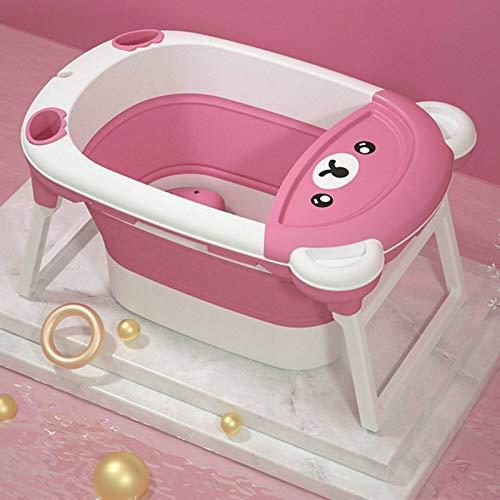 PQXOER Bañera plegable para niños Bañera plegable Bañera de bebé para un fácil almacenamiento y transporte, adecuado para almacenamiento en un espacio pequeño (tamaño: 83 x 45 x 57 cm, color: rosa)