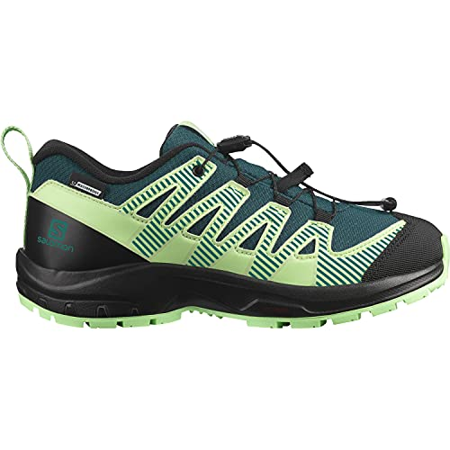 Salomon XA PRO V8 CSWP J, Scarpe da Trail Running Impermeabili, Unisex Bambini, 38 EU, Verde (Deep Teal/Black/Patina Green)