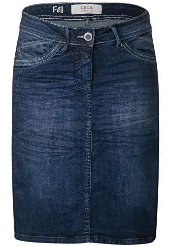 CECIL Damen 360451 Feli Galon Rock, Mehrfarbig (Dark blue wash 10315), 36 (Herstellergröße:28)