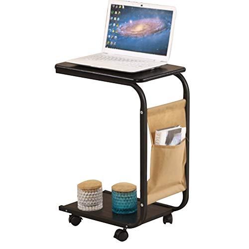 Laptop bureau draagbare multifunctioneel nachtkastje met bank en opbergruimte met riemschijf, 2 lagen, hoogte 65 cm (kleur: wit) zwart