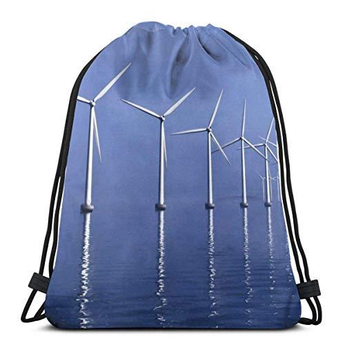 Mochila con cordón AOOEDM Blue Sky Sea Windmill Canvas Bulk Sackpack para hombres mujeres String Sports Gym Bag
