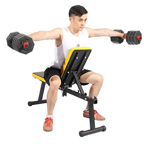 Soges Folding Dumbbell Bench Height Adjustable Incline Exercise Bench, Multi-Functional Home Gym Strength Training Fitness Workout Station, PSBB003