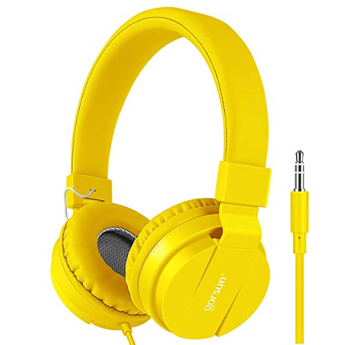 Kids Headphones, Gorsun Lightweight Stereo Wired Childrens Headsets for Kids Adults Adjustable Headband Toddler Headset for Smartphones Computer Pad Earphones