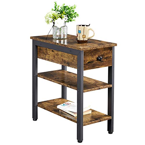 YAHEETECH 1 Drawer & Open Storage Shelf Narrow End Table Industrial Sofa Side Table Wood End Table Accent Table for Living Room, Rustic Brown