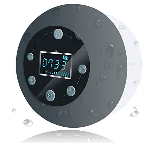 Altavoz de Ducha Impermeable Inalámbrico Bluetooth 5.0, Altavoces S602 con Ventosa, Pantalla de Reloj LCD, Tarjeta TF Jugando, 10 Horas de Tiempo de Jugar, Llamadas Manos Libres para iPhone Samsung