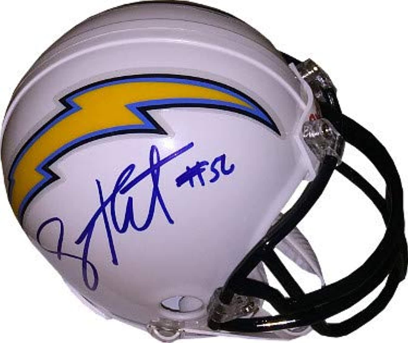 Shawne Merriman Autographed Signed Memorabilia San Diego Chargers Riddell White Mini Helmet #56 (Blue Sig) - JSA Authentic