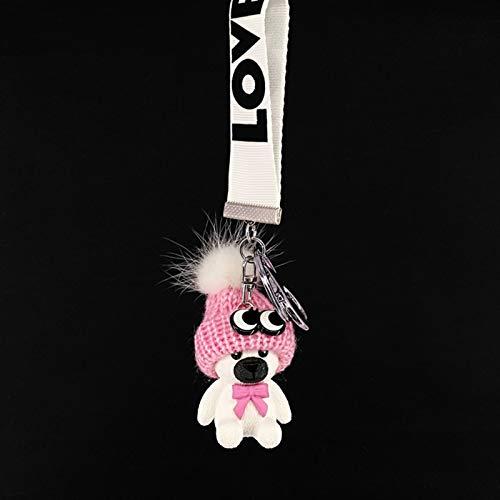 Dltmysh Llavero Nuevo Oso de Animal de acrílico de Resina Linda, Cachorro, Conejo, Cinta de Color con Campana Linda Temperamento Llavero Pendiente Bolsa de Bolsa (Color : The Bear Pink)