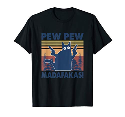 Pew Pew Madafakas Cat Crazy Vintage Retro Graphic T-Shirt